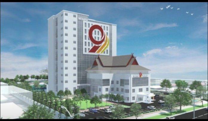 Desain-Menara 9 atau gedung baru Bank Jambi 12 Lantai Milik Bank Jambi.